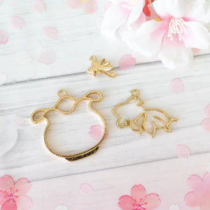 3 piece set | Gold Fish and Fish Bowl Open Back Bezel Frames and Charm| Gold Fish Bezel | Resin Craft | DIY Accessory