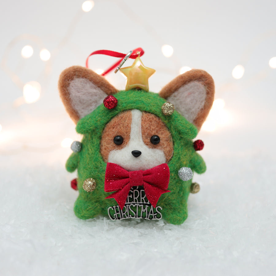[PREORDER] Christmas Tree Corgi with Glittery Ornaments Ornament