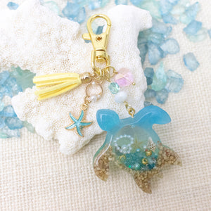 Sea Turtle Liquid Shaker Charm Keychain