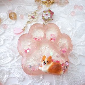 [PREORDER] Red Corgi on Rose Quartz Paw Shaker Heart Key Chain