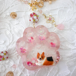 Rose Quartz Sable Corgi Paw Liquid Shaker Keychain