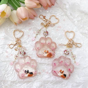 Rose Quartz Red Corgi Paw Liquid Shaker Keychain