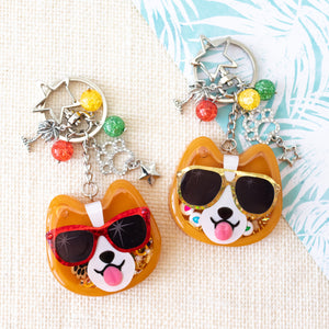 Sunset Strip Corgi with Blue Shades Liquid Shaker Charm