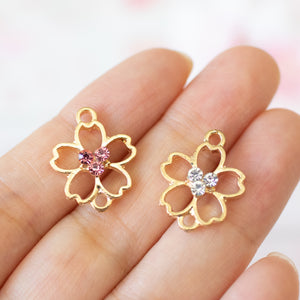 10 piece set | Sakura Enamel Charms & Open Back Bezel Connectors with Rhinestones | Hanami Accessory | DIY Jewelry