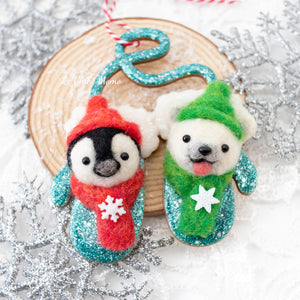 Penguin and Polar Bear Mittens Ornament