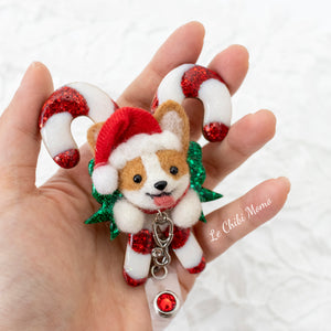 [PREORDER] Santa Corgi Large Candy Cane Brooch/ Magnet/ Badge Reel