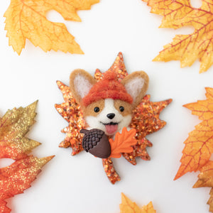 Fall Corgi Maple Leaf Brooch