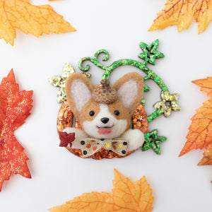Fall Corgi Pumpkin Brooch