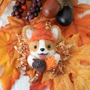 Fall Corgi Maple Brooch