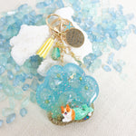 Mermaid Corgi on Paw [GLOW IN DARK] Liquid Shaker Charm Keychain