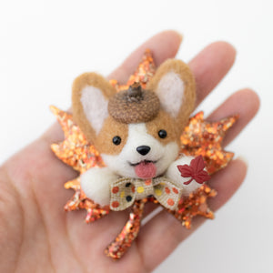 Red Corgi with LOVE charm on Crushed Shells Shaker Heart Key Chain