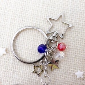 Pawtriotic Red Corgi USA Charm Keychain
