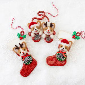 Rudolph Corgi Christmas Stocking Ornament (Ready To Ship)