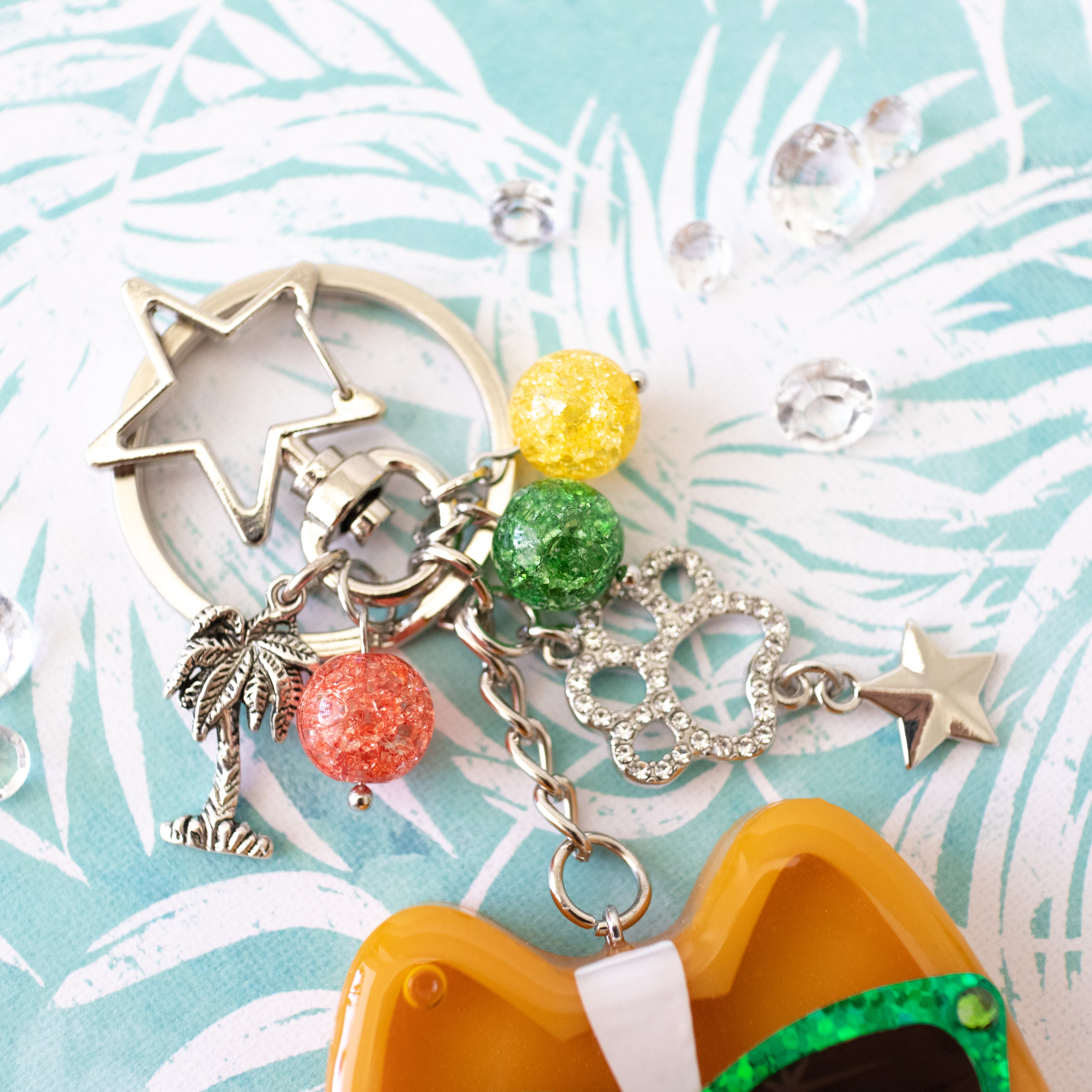Sunset Strip Corgi with Green Shades Liquid Shaker Charm