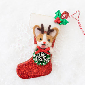 Rudolph Corgi Christmas Stocking Ornament