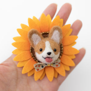 Fall Corgi Sunflower Brooch
