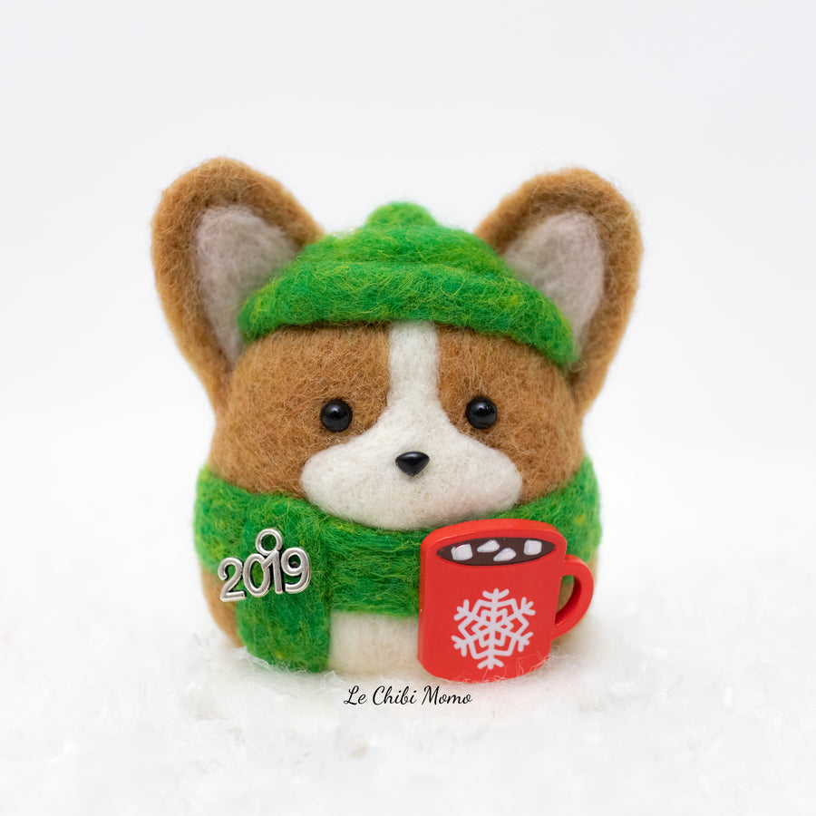 Winter Corgi with Hot Cocoa Snow Globe