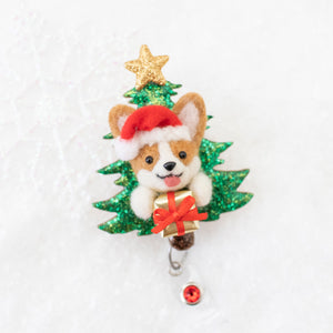Santa Corgi Christmas Tree Badge Reel with Swarovski Crystal