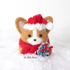 Santa Corgi with Wreath Snow Globe