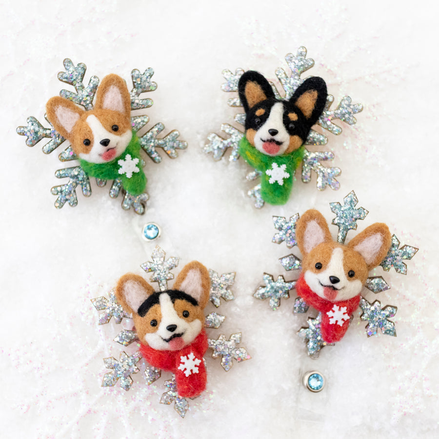 Winter Corgi Snowflake Badge Reel