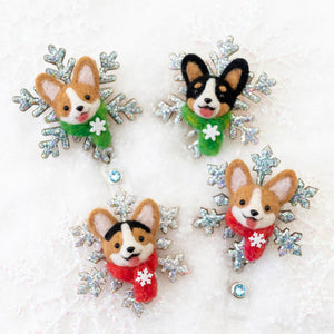 Winter Black Corgi Snowflake Brooch