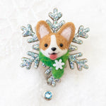 Winter Corgi Snowflake Badge Reel (Ready to Ship)