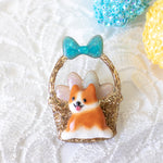 Corgi Easter Basket Pin with Blue Bow