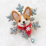 [PREORDER] Winter Corgi Snowflake Brooch/ Magnet/ Badge Reel