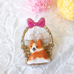 Corgi Easter Basket Pin with Pink Bow