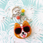 Sunset Strip Corgi with Red Shades Liquid Shaker Charm
