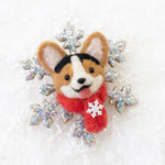 Winter TriCorgi Snowflake Brooch (Ready to Ship)