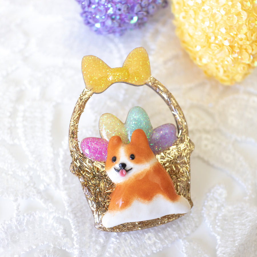 Easter Corgi Basket Brooch - UV Color Changing Colored Eggs