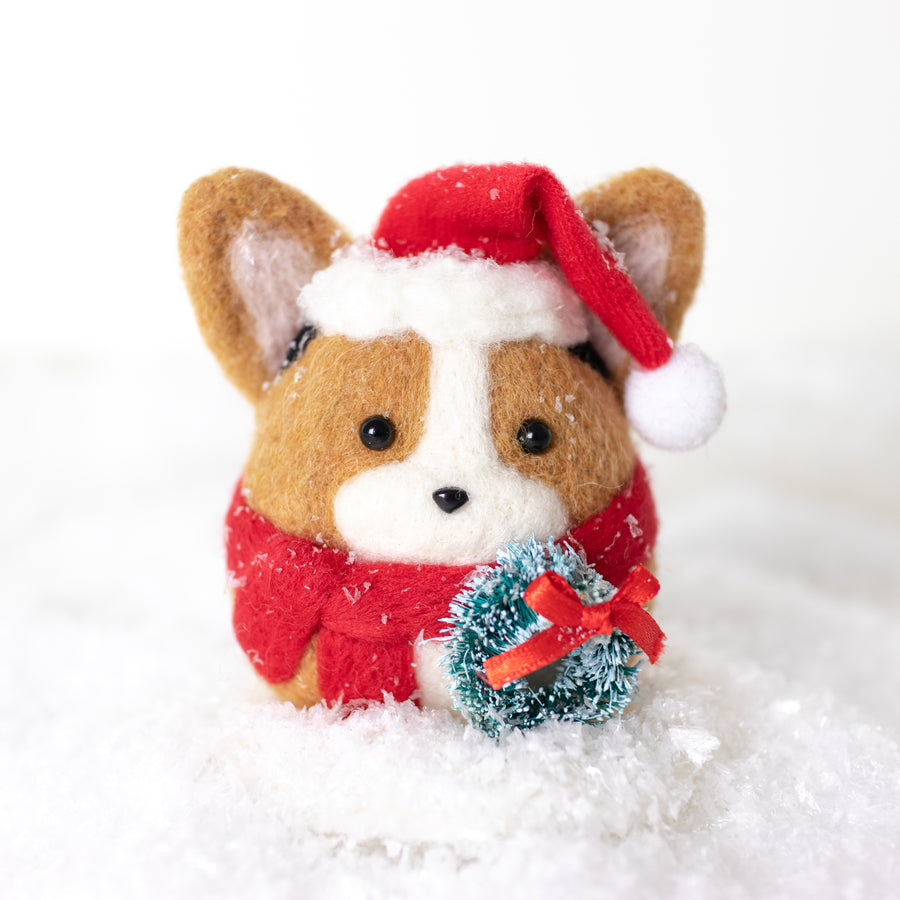 [PREORDER] Santa Sable Corgi with Wreath Ornament
