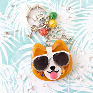 Sunset Strip Corgi with Silver Shades Liquid Shaker Charm