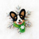 Winter TriCorgi Snowflake Brooch