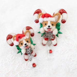 Santa Corgi Large Candy Cane Badge Reel with Swarovski Crystal