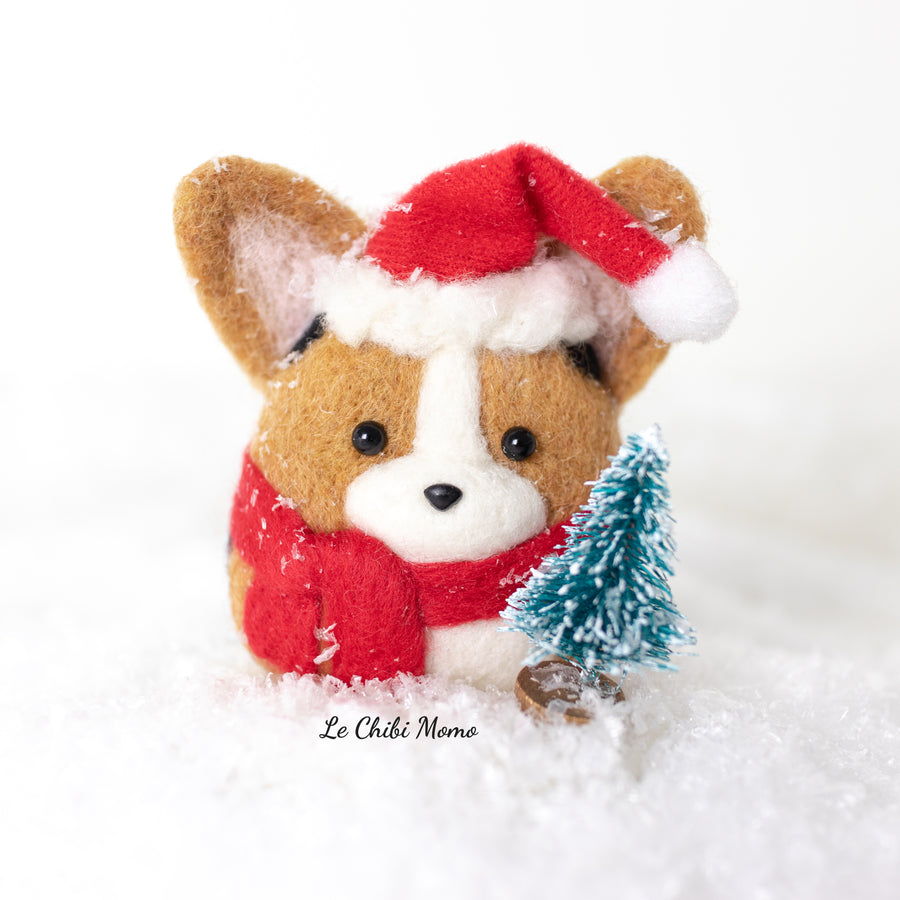 Santa Sable Corgi with Wreath Snow Globe