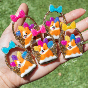 Easter Corgi Basket Brooch - UV Color Changing White Eggs