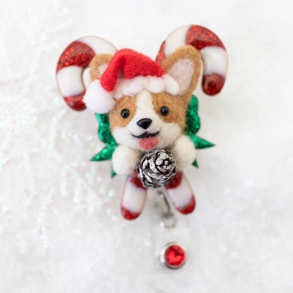 Santa Corgi  Small Candy Cane Badge Reel with Swarovski Crystal
