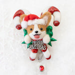 Santa Corgi Large Candy Cane Badge Reel with Swarovski Crystal (Ready To Ship)
