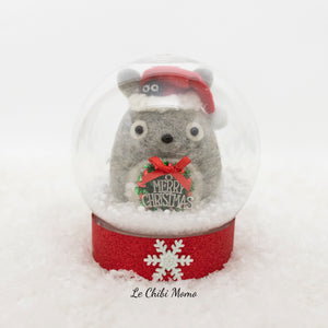 Holiday Totoro with Soot Sprite and Wreath Snow Globe