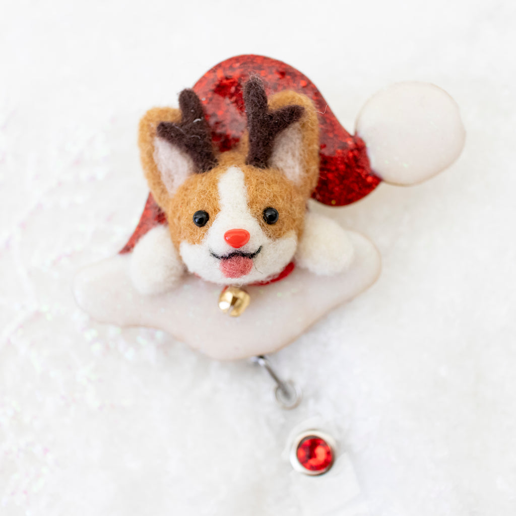 Rudolph Corgi Santa Hat Badge Reel with Swarovski crystal (Ready To Ship)