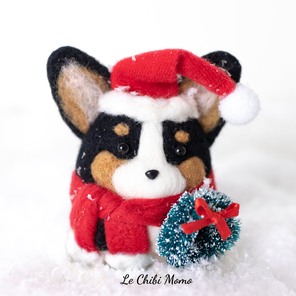PREORDER Black Tri-colored Santa Corgi with Wreath  Ornament