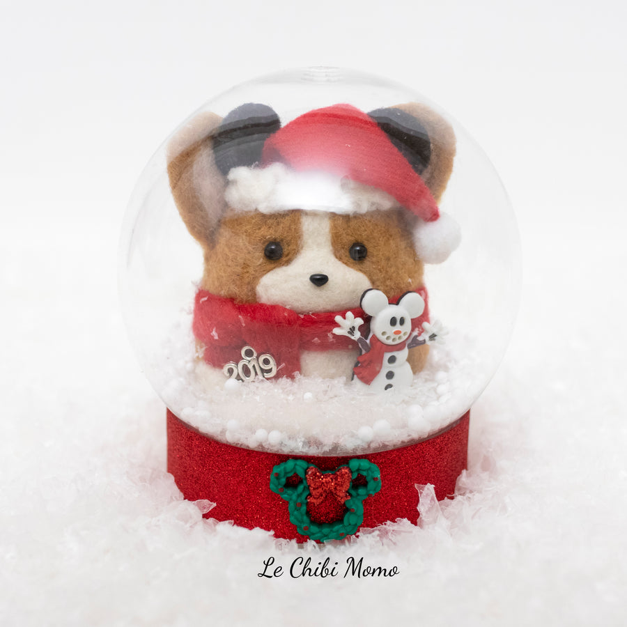 Santa Corgi with Mouse Ears and Mickey Snowman Snow Globe