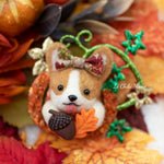 Fall Corgi Pumpkin with Leaves Brooch (Ready to Ship)