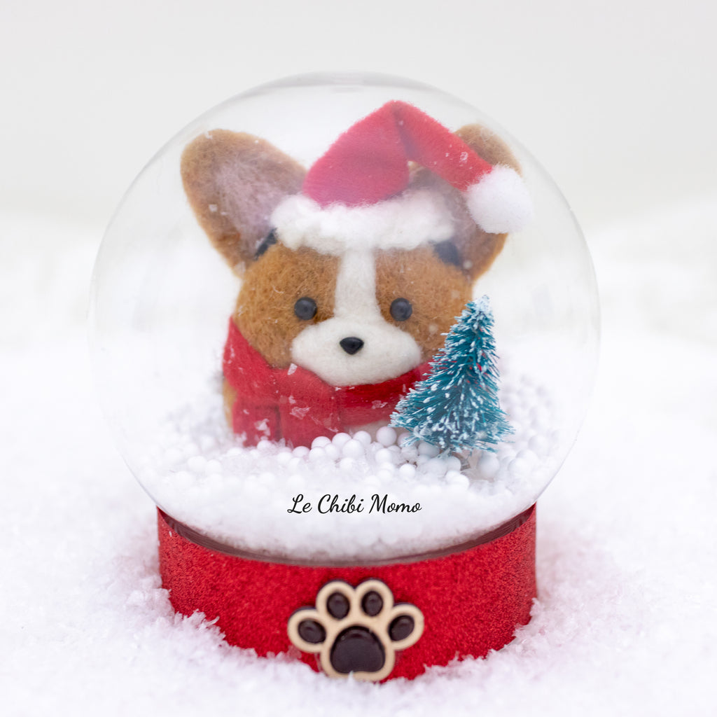Red/Black Head Tri-colored Santa Corgi with Tree Snow Globe