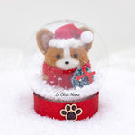 Red Santa Corgi with Wreath Snow Globe