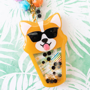 Boba Tea Corgi with Shades Liquid Shaker Charm