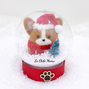 Red Santa Corgi with Tree Snow Globe