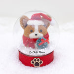Red/Black Head Tri-colored Santa Corgi with Wreath Snow Globe
